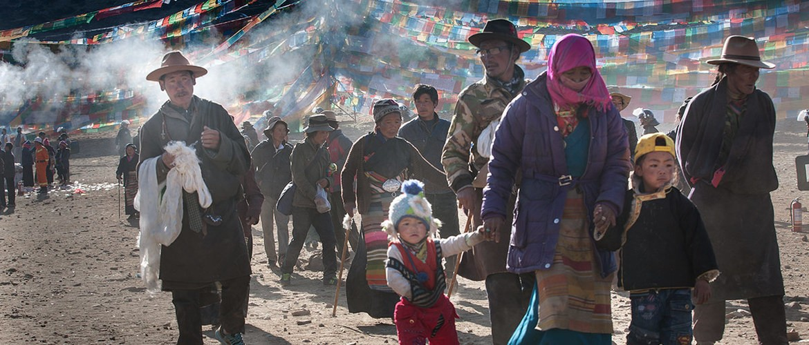 Local Tibetan celebrate Saga Dawa Festival at the ceremony holding at the foot of Mt. Kailash.