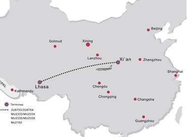 Xian is an important hub to fly to Tibet, as there are 7 daily flights.