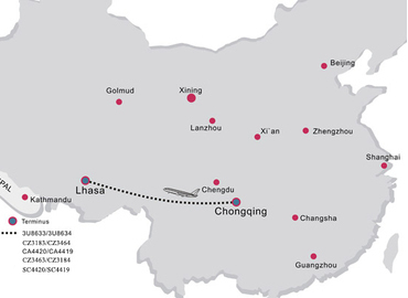 There're 10~13 direct flights from Chongqing to Tibet everyday.