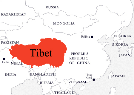 Tibet on Asia Map
