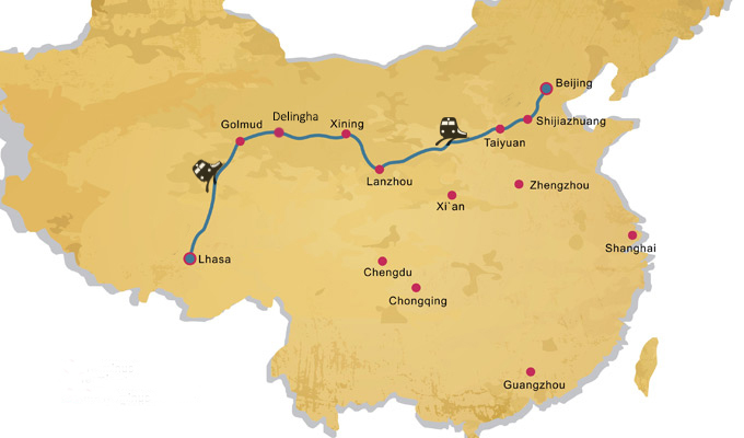 The map of the train route from Beijing to Lhasa.