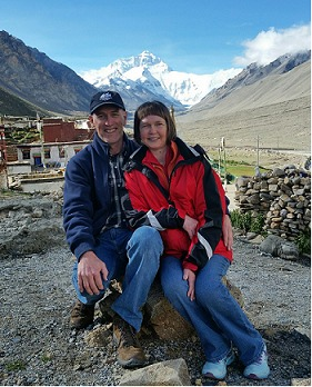 Happy couple at Rongbuk Monastery, where's the best position to take photos with the background of Mt. Everest.