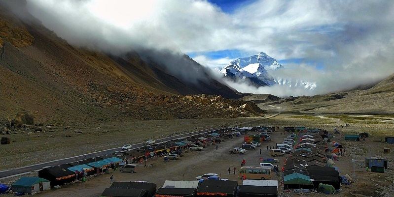 It is a camp for climbers from all over the world to climb Mount Everest from the north slope of Tibet.